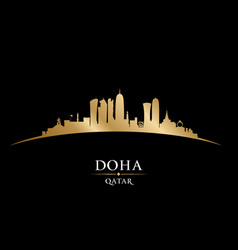 Doha qatar city skyline silhouette black vector