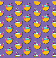 Summer seamless pattern with coconut drink vector