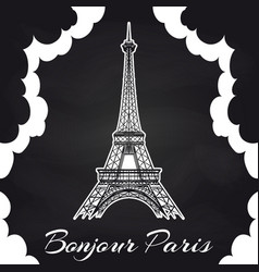 Chalkboard paris poster with eiffel tower vector