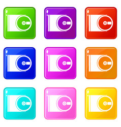 Dvd drive open icons 9 set vector