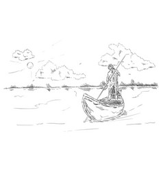 Fisherman on the boat vector