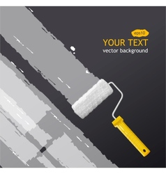 Roller brush with white paint vector