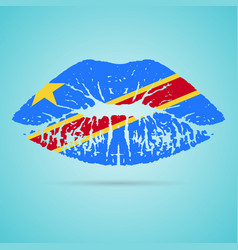 democratic republic of the congo flag lipstick on vector image