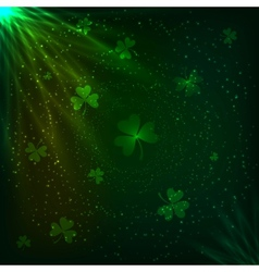 Shining green clovers magic background vector image