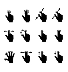 Gesture icons set for mobile touch devices vector