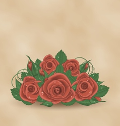 Vintage cute card with bouquet roses vector