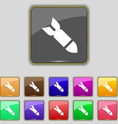 Missilerocket weapon icon sign set with eleven vector