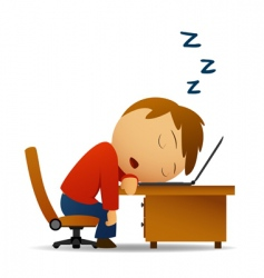 man sleeping at work vector image