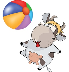 Small cow and ball cartoon vector