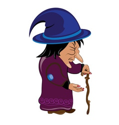 halloween old witch on white vector image