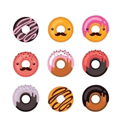 Delicious donut icon set sweet dessert modern vector
