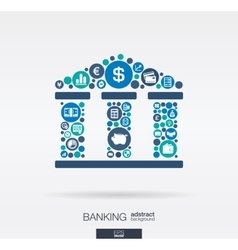 Flat icons in a bank building shape banking vector