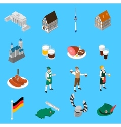 German culture traditions isometric icons vector