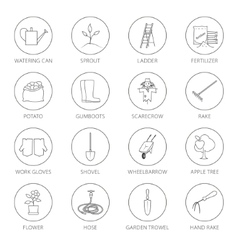 Thin line icons agricultural tool vector