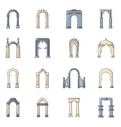 arch types icons set cartoon style vector image
