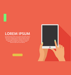 background with touch screen tablet and click hand vector image
