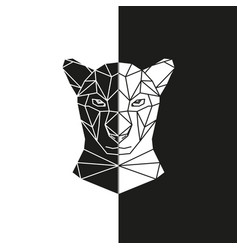 Black and white panther head geometric vector