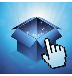 blue box with glowing light and hand cursor vector image vector image