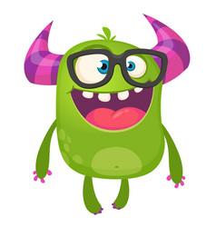 Cartoon green monster nerd wearing glasses vector
