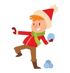 Christmas kid playing winter games vector