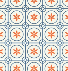 Circle and Flower Pattern on Pastel Color vector image