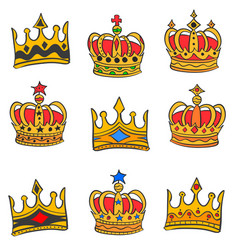 collection red crown style doodles vector image vector image