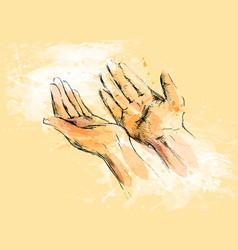 Colored hand sketch begging hands vector