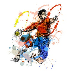 Colored hand sketch handball player vector