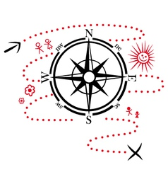 Compass hiking map vector