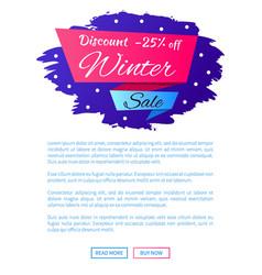 discount - 25 winter sale web poster label design vector image vector image