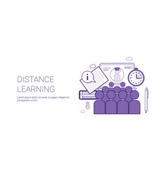 Distance learing online business concept elearning vector