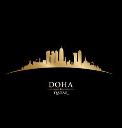 doha qatar city skyline silhouette black vector image