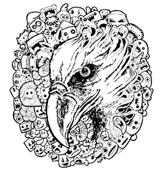 eagle doodle cartoon - hand drawing vector image vector image