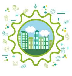 eco friendly city design vector image vector image
