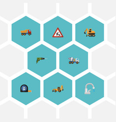 flat icons faucet excavator roll meter and other vector image vector image