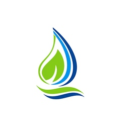 fresh water leaf ecology abstract logo vector image