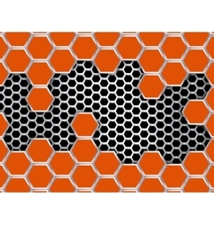 Geometric pattern of hexagons metal background vector