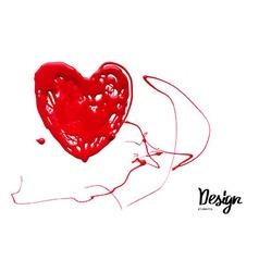 Ink blot look like heart vector image