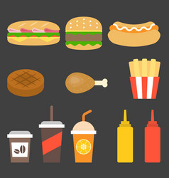 junk food icon flat design vector image vector image