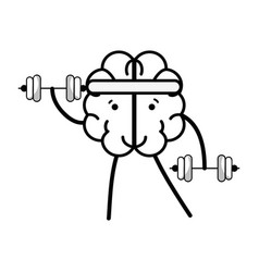 Line icon adorable kawaii brain doing exercise vector