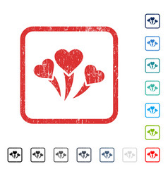 Love heart fireworks icon rubber watermark vector