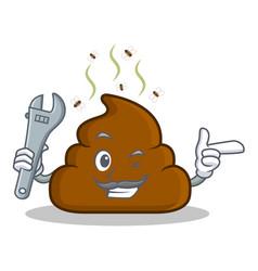 Mechanic poop emoticon character cartoon vector