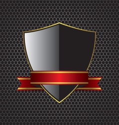 Metal textures and shield background vector image vector image