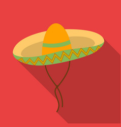 Mexican sombrero icon in flat style isolated on vector