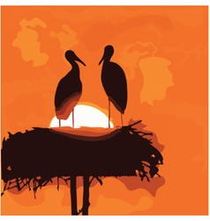 Pair of storks silhouettes in the nest vector image