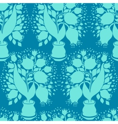 Pattern with stylize silhouettes of tulips vector image