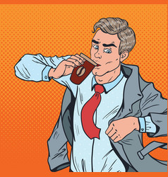 pop art man with coffee hurry up to office vector image