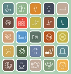Public line flat icons on green background vector