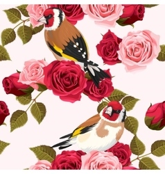 Seamless goldfinch and roses vector