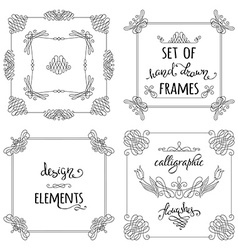 set of hand-drawn calligraphic frames vector image vector image
